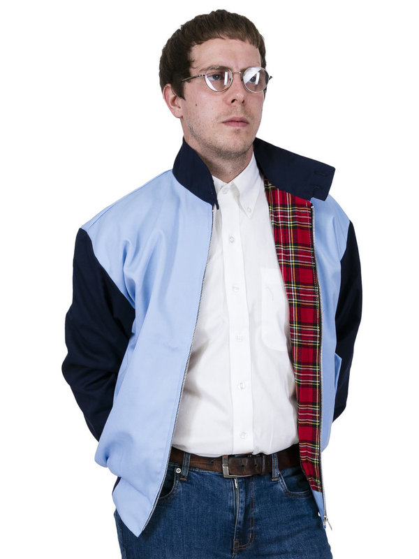 Two Tone Harrington Jacke skyblue/schwarz