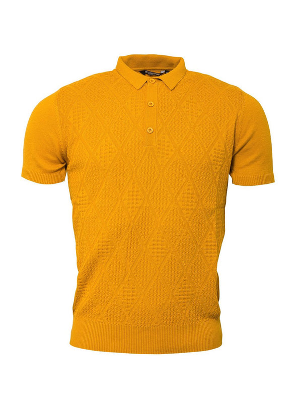 Vintage Strick Polo mustard
